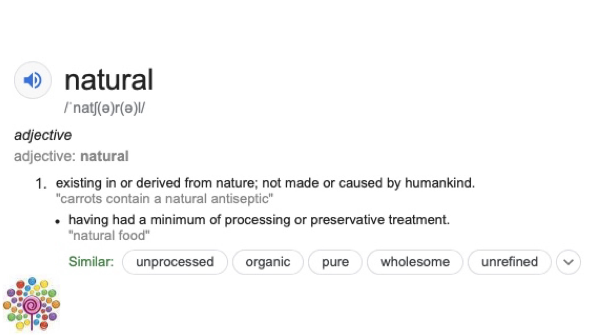 Definition of natural, in the context of food.
