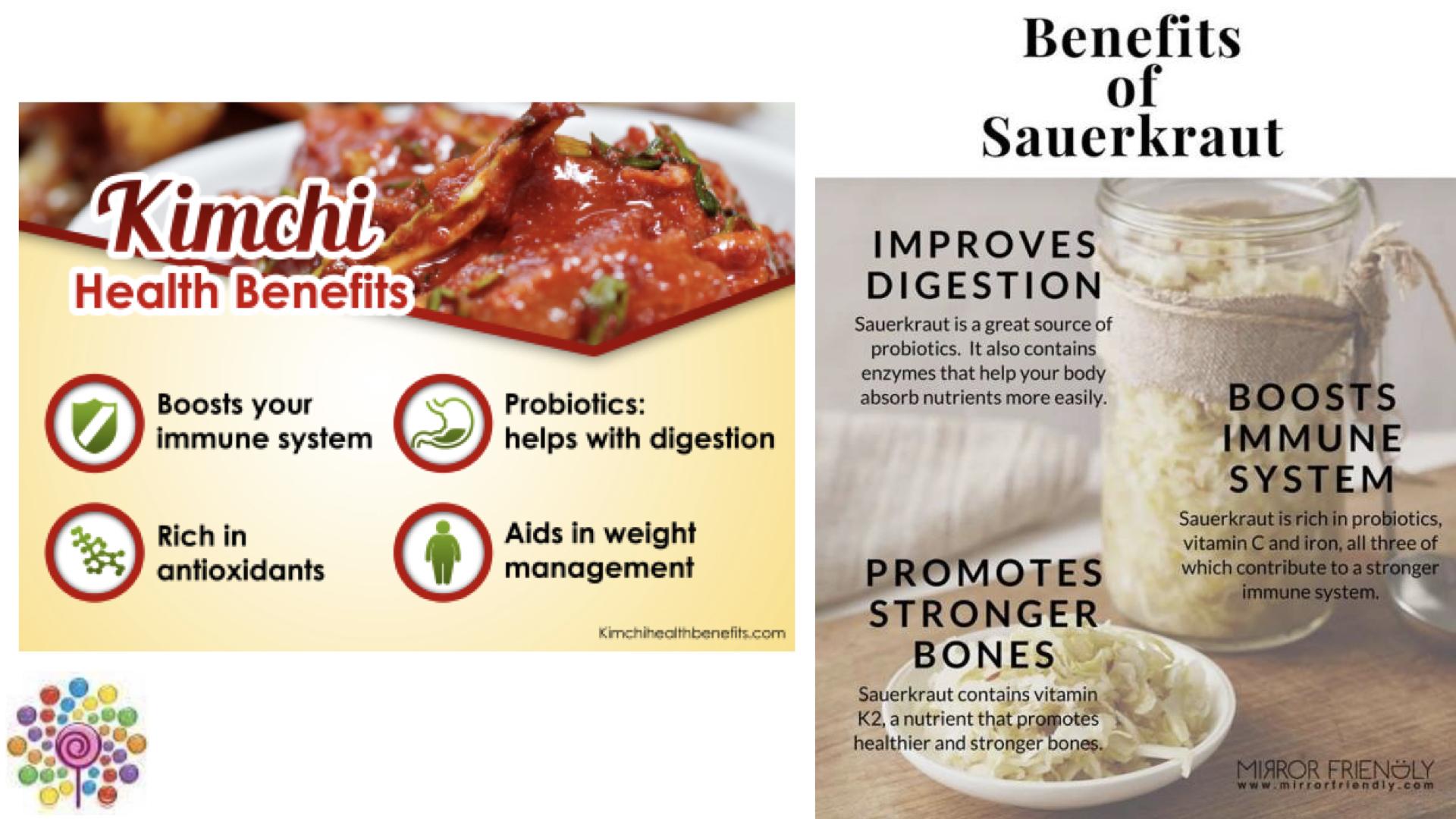 Benefits of kimchi and sauerkraut consumption.