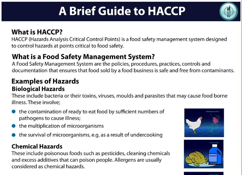 Overview of HACCP - Hazard Analysis Critical Control Points.