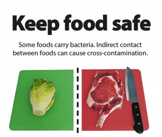 Food safety cross contamination is asking keeping food types separate.